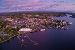 Aerial View of Kenora, Ontario at sunset in summer