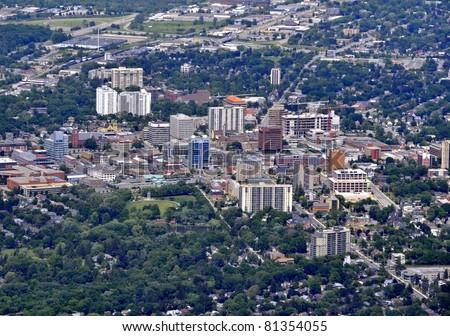 aerial view of  Kitchener town center Kitchener-Waterloo, Ontario Canada