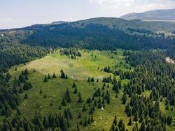 Aerial view of Konyarnika area ar Vitosha Mountain, Sofia City Region, Bulgaria