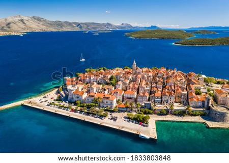 Aerial view of Korcula old town on Korcula island, Croatia. Foto stock ©