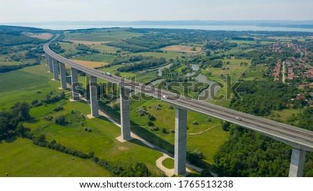 Aerial view of Koroshegy Viaduct in Balaton, Hungary. Photo stock ©