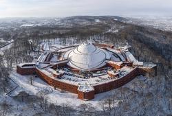Aerial view of Kosciuszko Mound in Krakow during winter, Poland