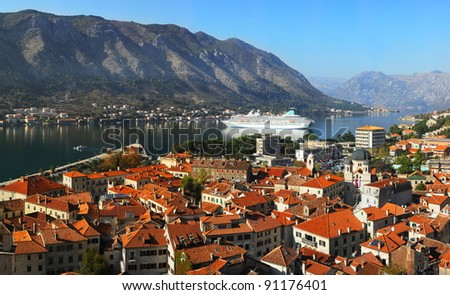 Aerial view of Kotor city, Montenegro