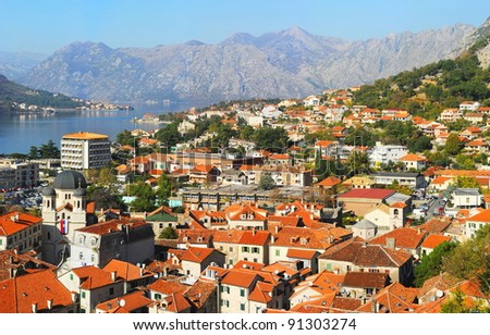 Aerial view of Kotor city, Montenegro