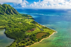 Aerial view of Kualoa Point at Kaneohe Bay, Hawaii, Oahu, Hawaii, USA