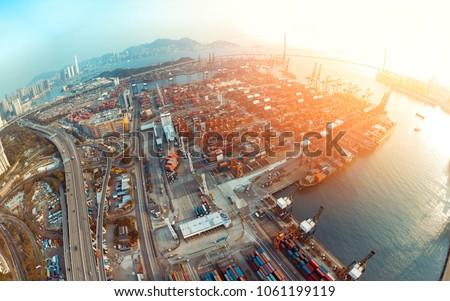 Aerial view of Kwai Tsing container terminals Hong Kong, China
