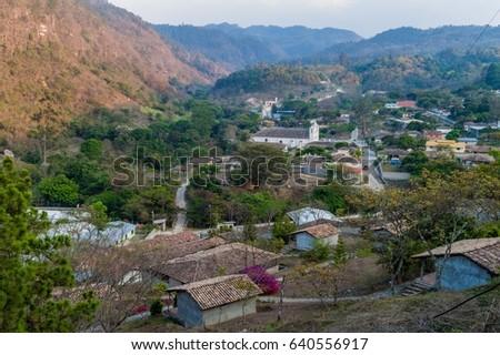 Aerial view of La Campa village, Honduras Foto stock ©