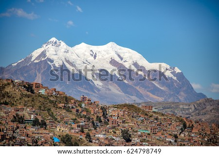 Shutterstock Aerial view of La Paz city with Illimani Mountain on background - La Paz, Bolivia