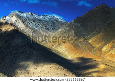 aerial view of ladakh landscape, light and shadow