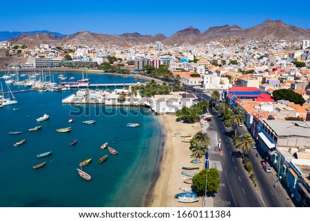 Aerial view of Laginha beach in Mindelo city in Sao Vicente Island in Cape Verde Foto stock ©