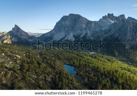 Aerial view of Lago Limides with Dolomites mountains in the background #1199465278