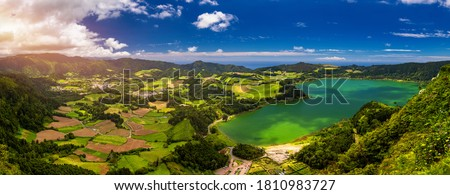 Aerial view of Lagoa das Furnas located on the Azorean island of Sao Miguel, Azores, Portugal. Lake Furnas (Lagoa das Furnas) on Sao Miguel, Azores, Portugal from the Pico do Ferro scenic viewpoint. Stock foto ©