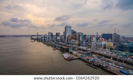 Aerial view of Lagos Island with Lagos Marina Foto stock ©