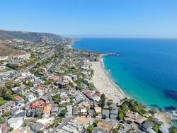 Aerial view of Laguna Beach coastline , Orange County, Southern California Coastline, USA