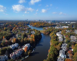 Aerial View of Lake Audubon and Lake Thoreau in Reston Virginia on a Fall Afternoon