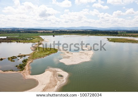 aerial view of  lake near Nysa town in Poland