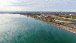 Aerial view of Lake Ontario, in Hamilton, Ontario.