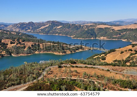 aerial view of lake sonoma region in northern california wine country