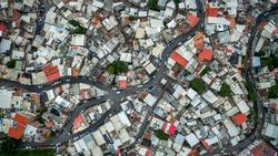 Aerial view of Las Minas de Baruta Slum, in Caravas, Venezuela