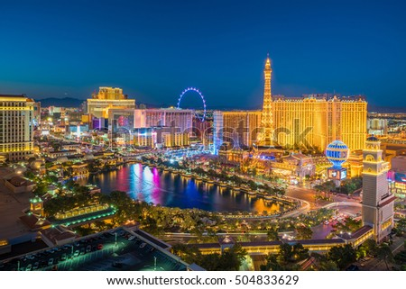 Aerial view of Las Vegas strip in Nevada as seen at night  USA