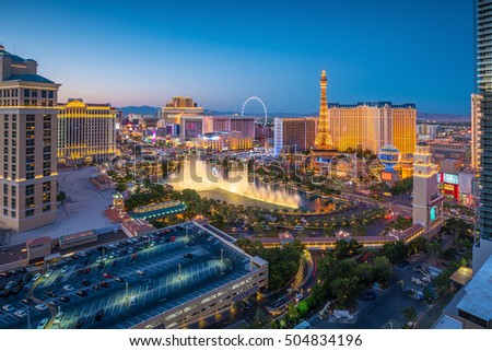 Aerial view of Las Vegas strip in Nevada as seen at night  USA #504834196