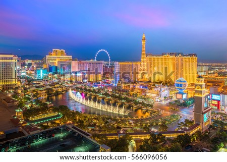 Aerial view of Las Vegas strip in Nevada as seen at night  USA #566096056