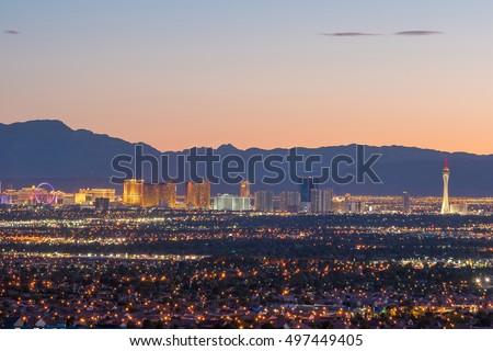 Aerial view of Las Vegas strip in Nevada USA #497449405