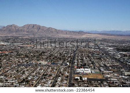 Aerial view of Las Vegas surburbs and mountains