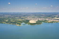 Aerial view of Lavon Lake, Texas, USA. Fresh water reservoir, located in Collin County, part of the Dallas-Fort Worth-Arlington, Texas Metropolitan Area. City of Lucas, suburban residential area.