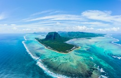 Aerial view of Le Morne Brabant mountain which is in the World Heritage site of the UNESCO, with beautiful underwater waterfall.