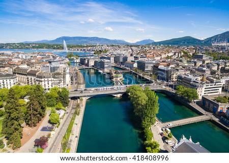 Aerial view of Leman lake -  Geneva city in Switzerland Foto stock ©