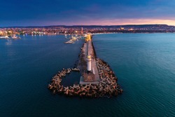 Aerial view of lighthouse at sunrise in Varna, Bulgaria.