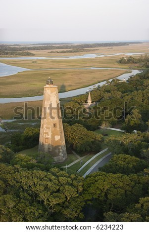 Aerial view of lighthouse on Bald Head Island, North Carolina.