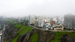 Aerial view of Lima coastal line and Love Park
