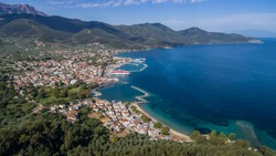 aerial view of Limenas town and port at Thassos island, Greece