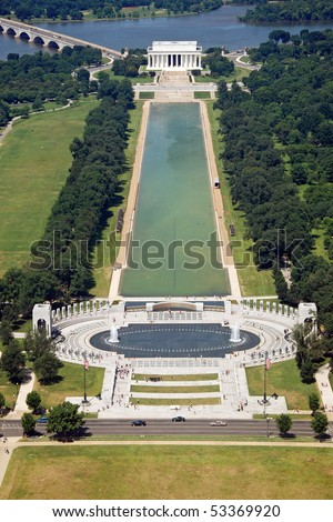 Aerial view of Lincoln memorial in Washington DC from Washington monument