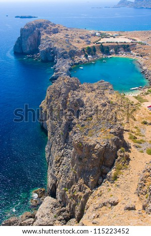Aerial view of Lindos Agios Pavlos bay, Rhodes - stock photo