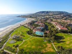 Aerial view of little park at Monarch beach coastline. Small neighborhood in Orange County City of Dana Point. California, USA.