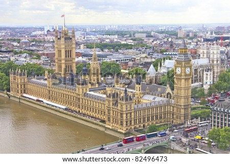 Aerial view of London, England - stock photo