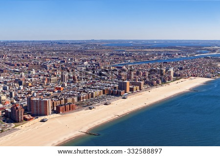 Aerial view of Long Island in New York, USA. It is the westernmost residential and commercial neighborhood of the New York City borough of Queens.