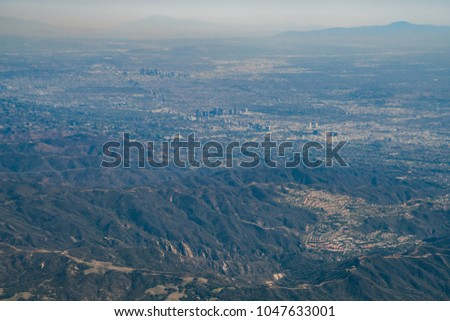Aerial view of Los Angeles downtown and Westwood downtown, California