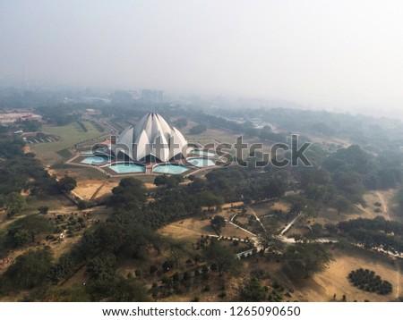 Aerial View of Lotus Temple, Delhi