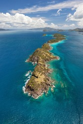 Aerial view of Lovango, Mingo and Grassy cays near the island of St. John in the United States Virgin Islands.