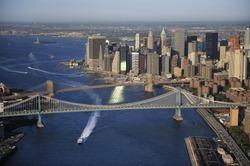 Aerial view of Lower Manhattan, Brooklyn Bridge, Manhattan Bridge, New York