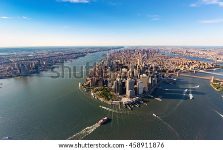 Aerial view of lower Manhattan New York City and the Hudson River #458911876