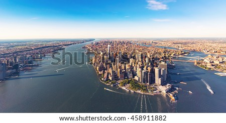Aerial view of lower Manhattan New York City and the Hudson River #458911882
