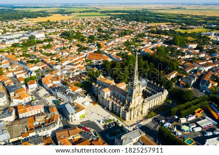 Aerial view of Lucon cityscape and cathedral of Notre Dame in Vendee department, western France Photo stock ©
