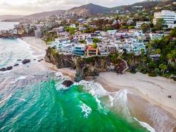 Aerial view of luxury buildings at the coast of Laguna Beach, California, USA