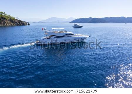 Aerial view of luxury yacht on sea in Bodrum, Turkey #715821799