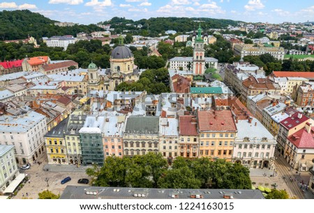 Aerial view of Lviv City in Ukraine #1224163015